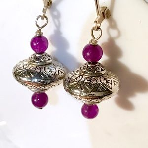 SOLID STERLING Silver & Amethyst Earrings